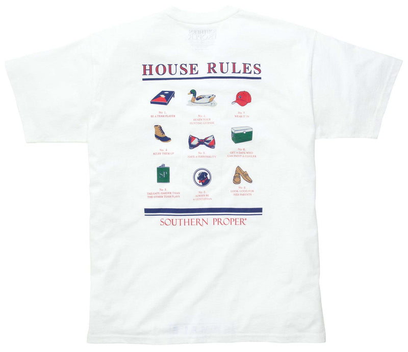 Men's Tee Shirts - House Rules Tee In White By Southern Proper