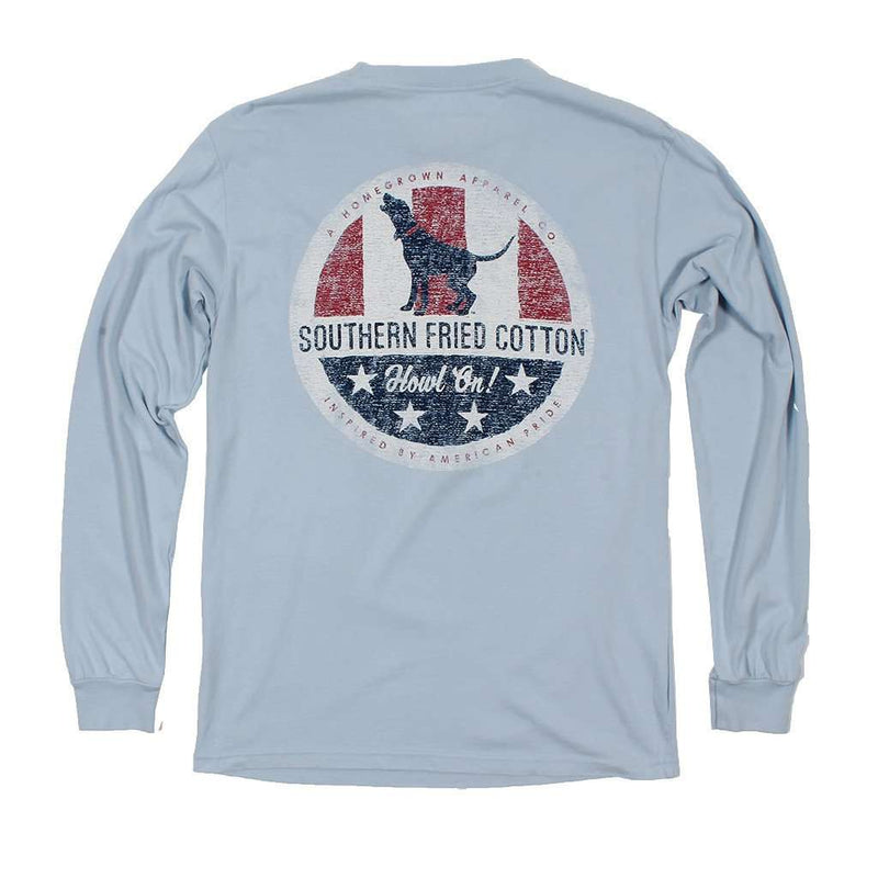 Men's Tee Shirts - Howlin' For America Long Sleeve Tee In Southern Sky By Southern Fried Cotton