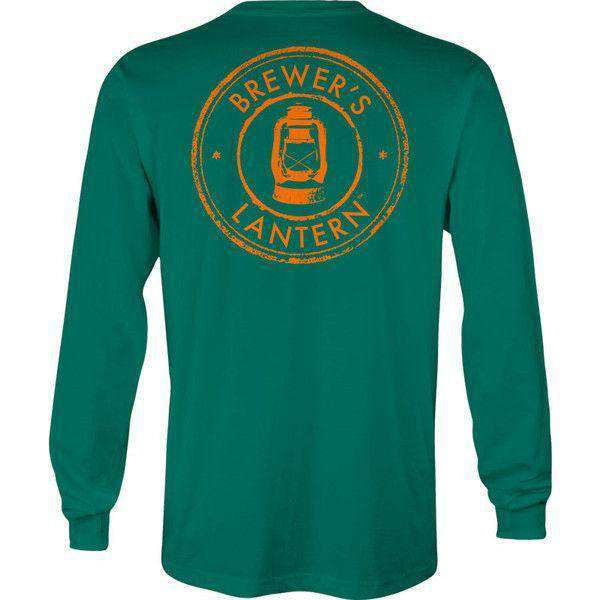 Hunter's Logo Long Sleeve Pocket Tee in Boxwood Green by Brewer's Lantern
