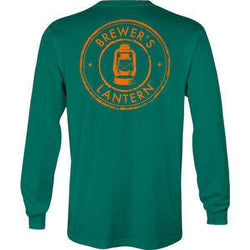 Men's Tee Shirts - Hunter's Logo Long Sleeve Pocket Tee In Boxwood Green By Brewer's Lantern