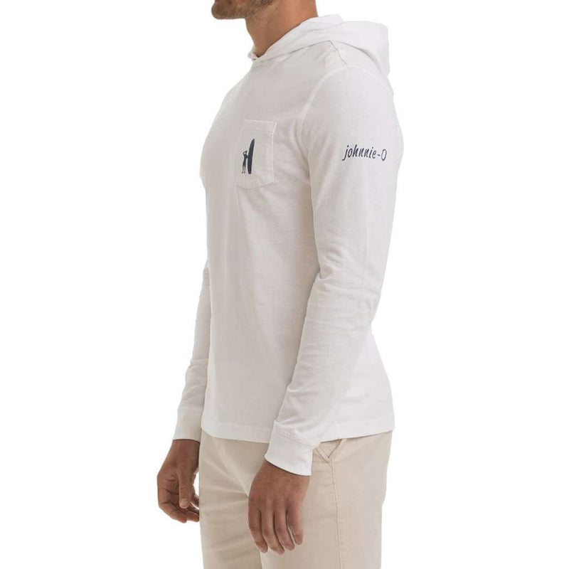 Men's Tee Shirts - Jetty Long Sleeve Hooded Tee In White By Johnnie-O