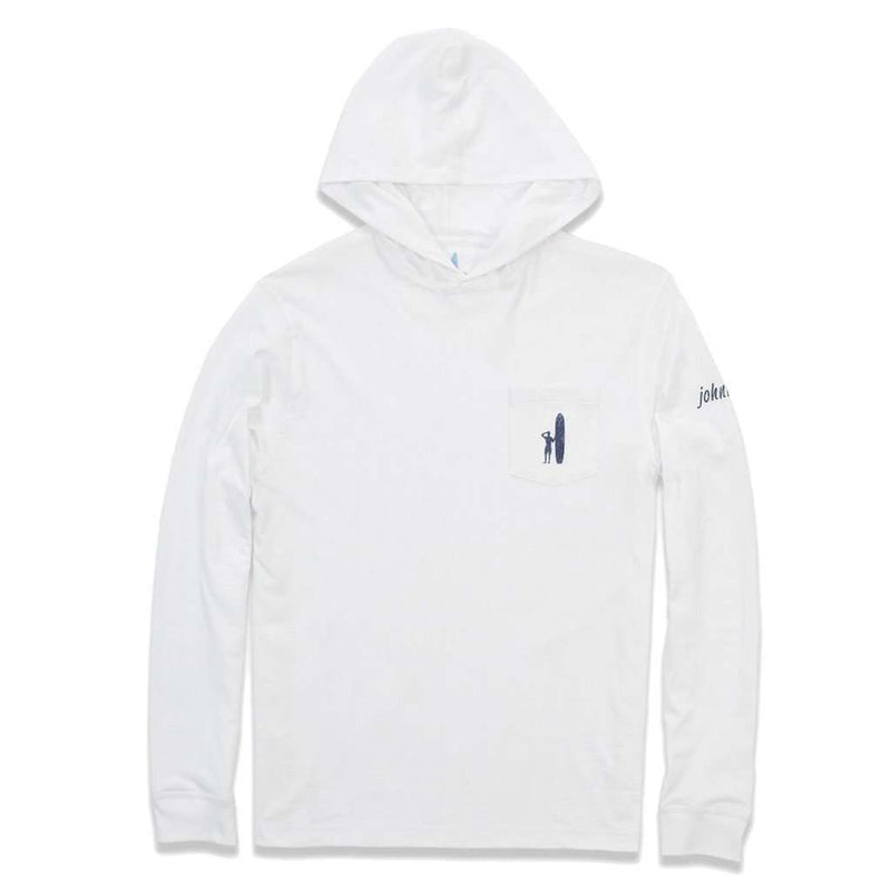 Jetty Long Sleeve Hooded Tee in White by Johnnie-O