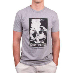 Men's Tee Shirts - Johnny Politics Short Sleeve Vintage Tee In Heathered Grey By Rowdy Gentleman - FINAL SALE
