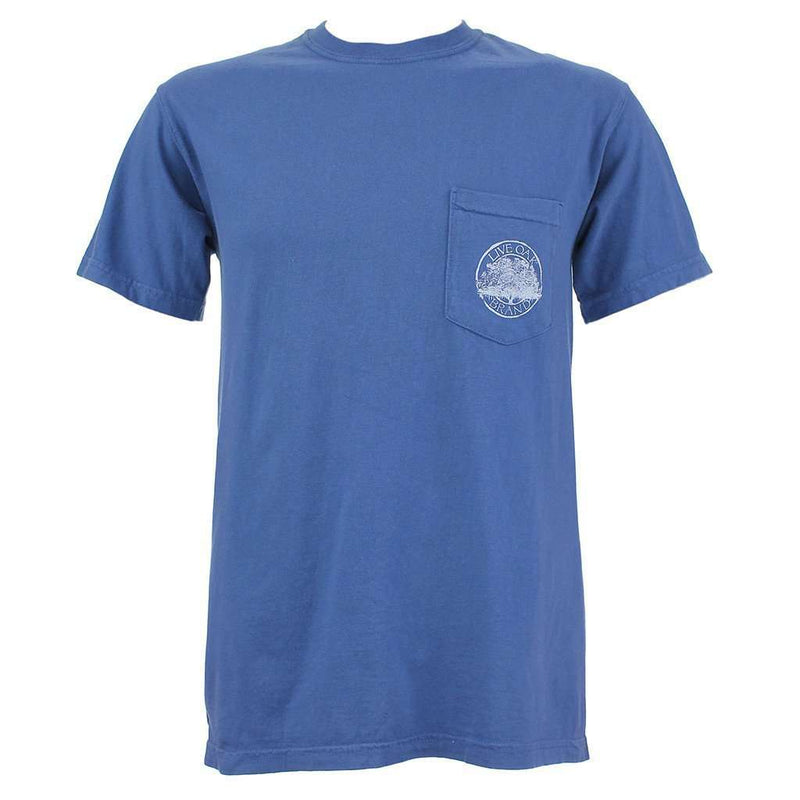Kentucky Banjo License Plate Tee Shirt in China Blue by Live Oak