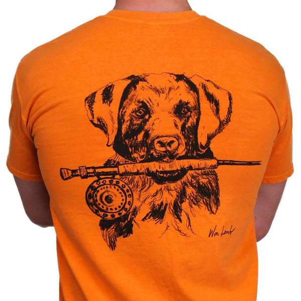 Lab and Rod Original Watercolor Tee in Burnt Orange by WM Lamb & Son - Country Club Prep