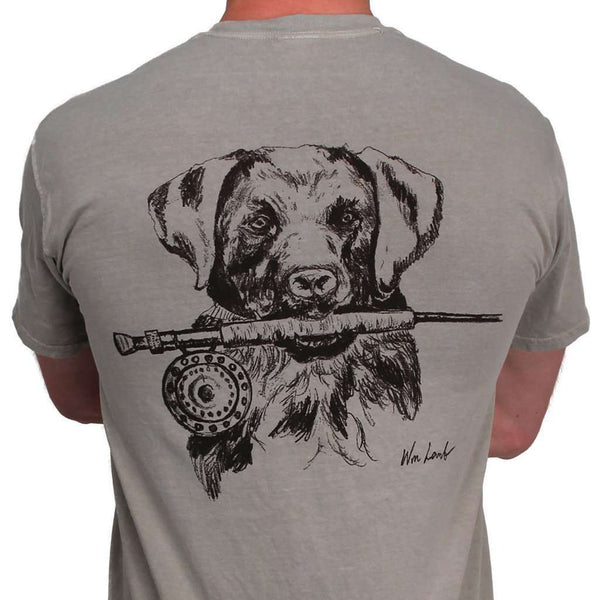 Lab and Rod Original Watercolor Tee in Sandstone Grey by WM Lamb & Son - Country Club Prep