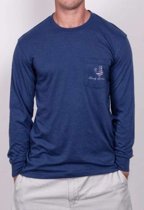 Men's Tee Shirts - Land Of The Free Long Sleeve Pocket Tee In Navy By Rowdy Gentleman