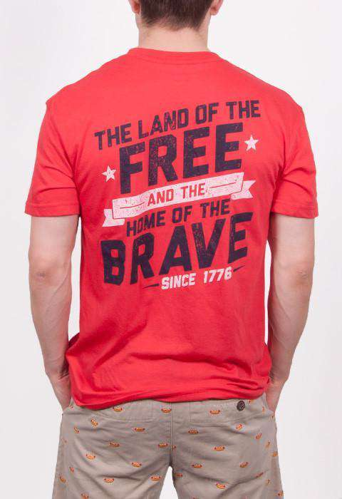 Men's Tee Shirts - Land Of The Free Short Sleve Pocket Tee In Red By Rowdy Gentleman - FINAL SALE