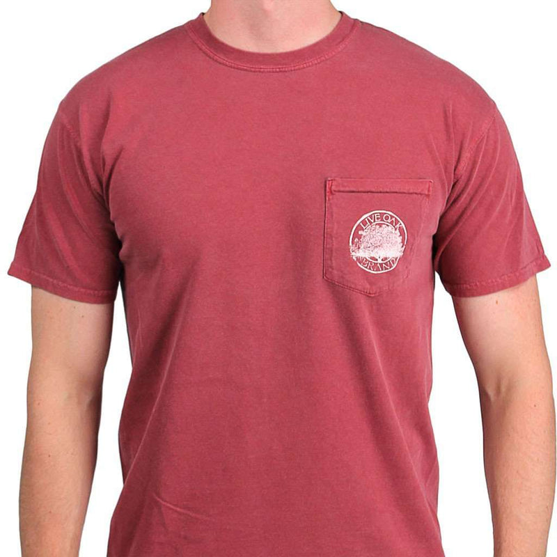 Men's Tee Shirts - Live Oak Logo Short Sleeve Pocket Tee In Brick By Live Oak