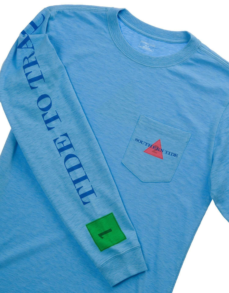 Men's Tee Shirts - London, Paris, Athens Long Sleeve Pocket Tee In Ocean Channel By Southern Tide
