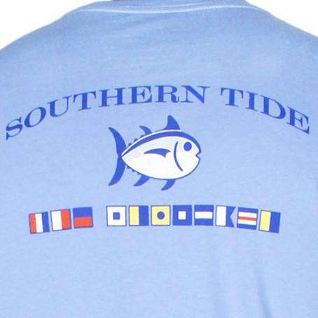 Men's Tee Shirts - Long Sleeve CCP Nautical Flags Tee Shirt In Cool Water By Southern Tide