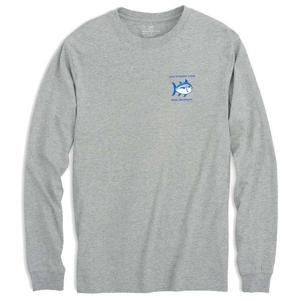 Long Sleeve Heathered Original Skipjack Tee in Grey Heather by Southern Tide