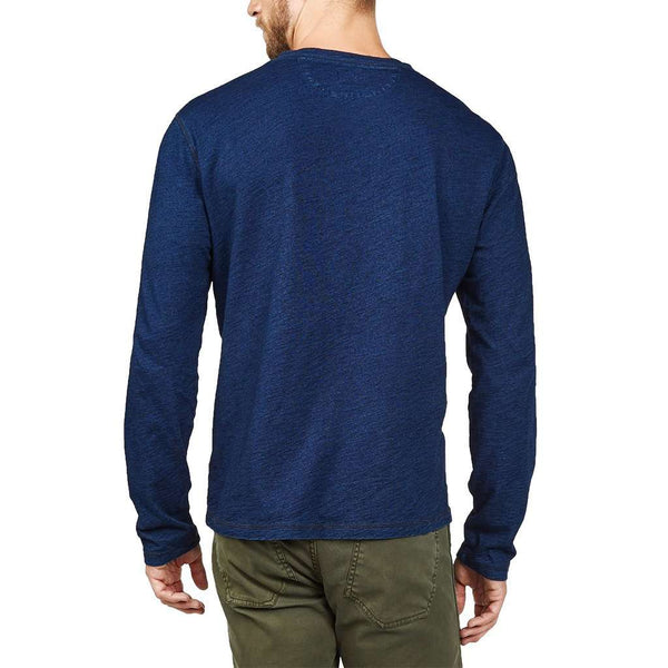 Long Sleeve Indigo Henley in Dark Wash by Faherty - FINAL SALE