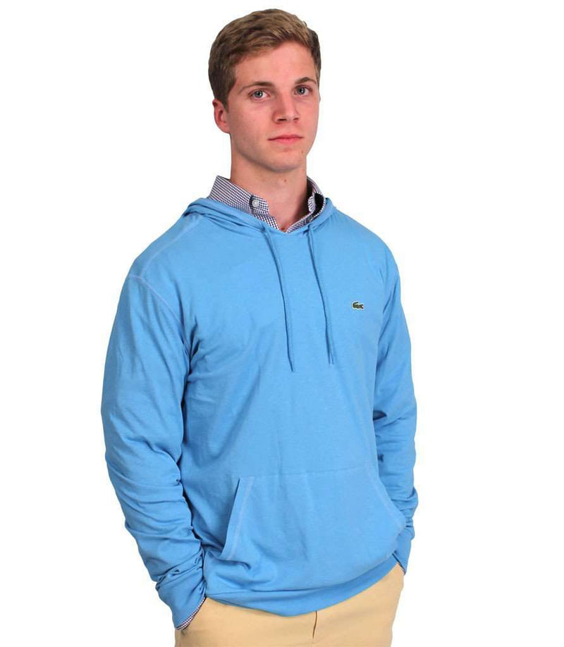 Men's Tee Shirts - Long Sleeve Jersey Hooded T-Shirt In Blue By Lacoste