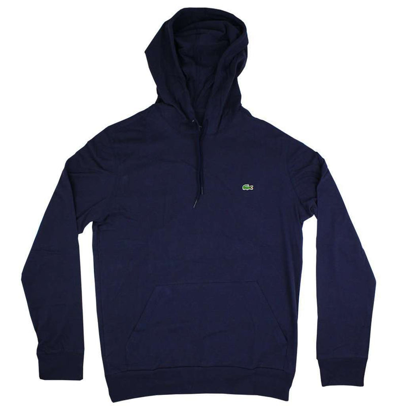 Men's Tee Shirts - Long Sleeve Jersey Hooded T-Shirt In Navy By Lacoste
