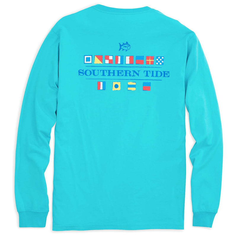 Men's Tee Shirts - Long Sleeve Nautical Flags Tee Shirt In Scuba Blue By Southern Tide