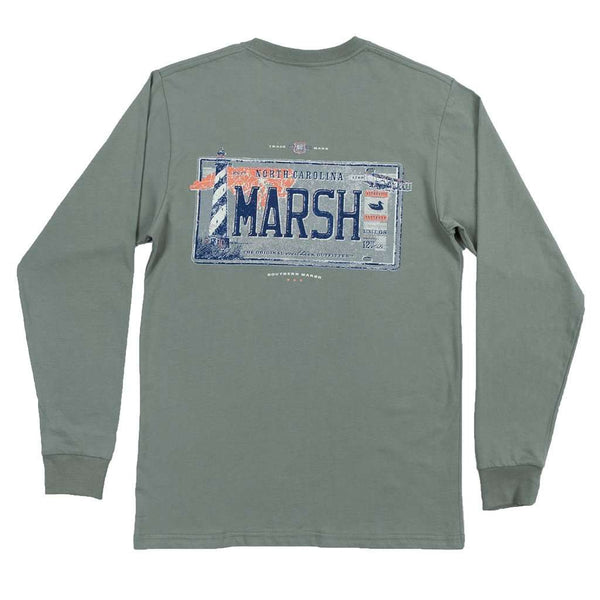 Men's Tee Shirts - Long Sleeve North Carolina Backroads Collection Tee In Bay Green By Southern Marsh - FINAL SALE