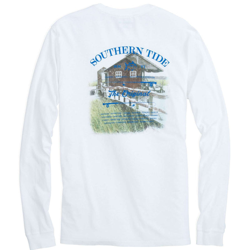 Men's Tee Shirts - Long Sleeve Original Boathouse Tee In Classic White By Southern Tide