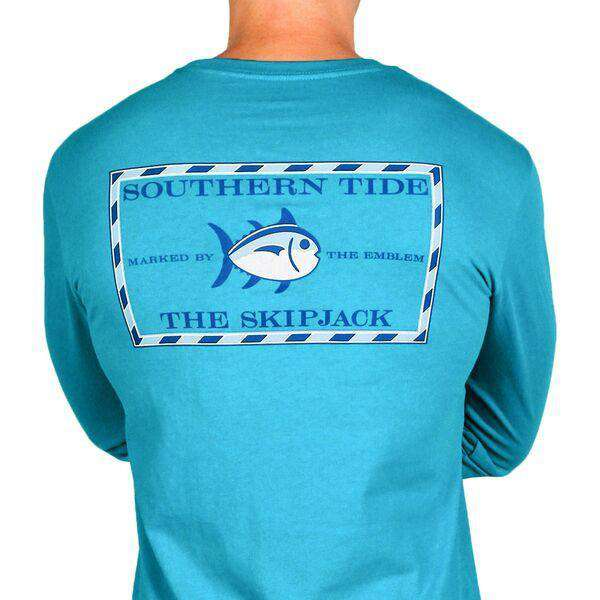 Men's Tee Shirts - Long Sleeve Original Skipjack Tee In Cool Breeze By Southern Tide