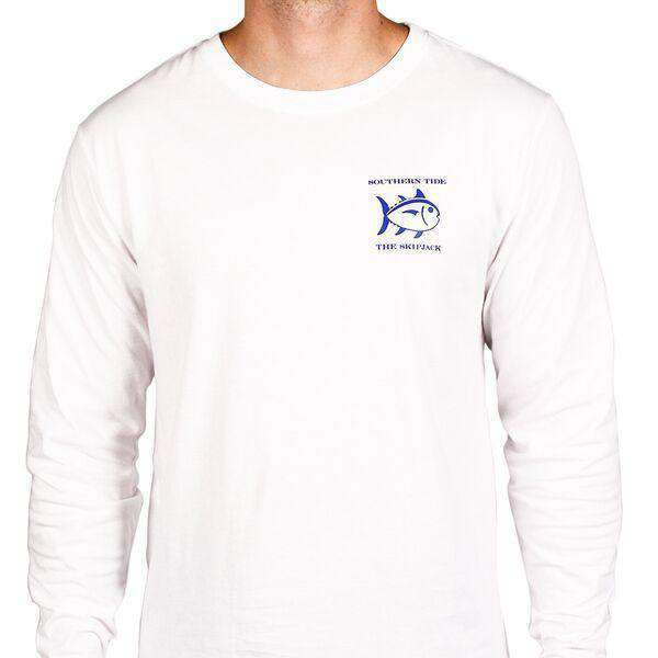 Men's Tee Shirts - Long Sleeve Original Skipjack Tee In White By Southern Tide