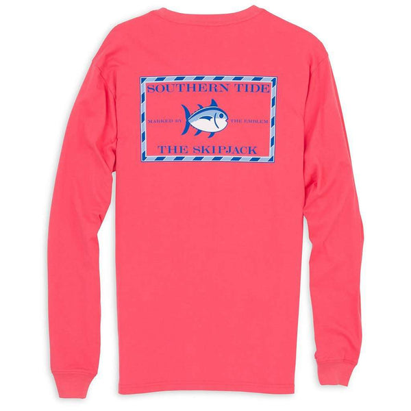 Men's Tee Shirts - Long Sleeve Original Skipjack Tee Shirt In Ember Glow By Southern Tide