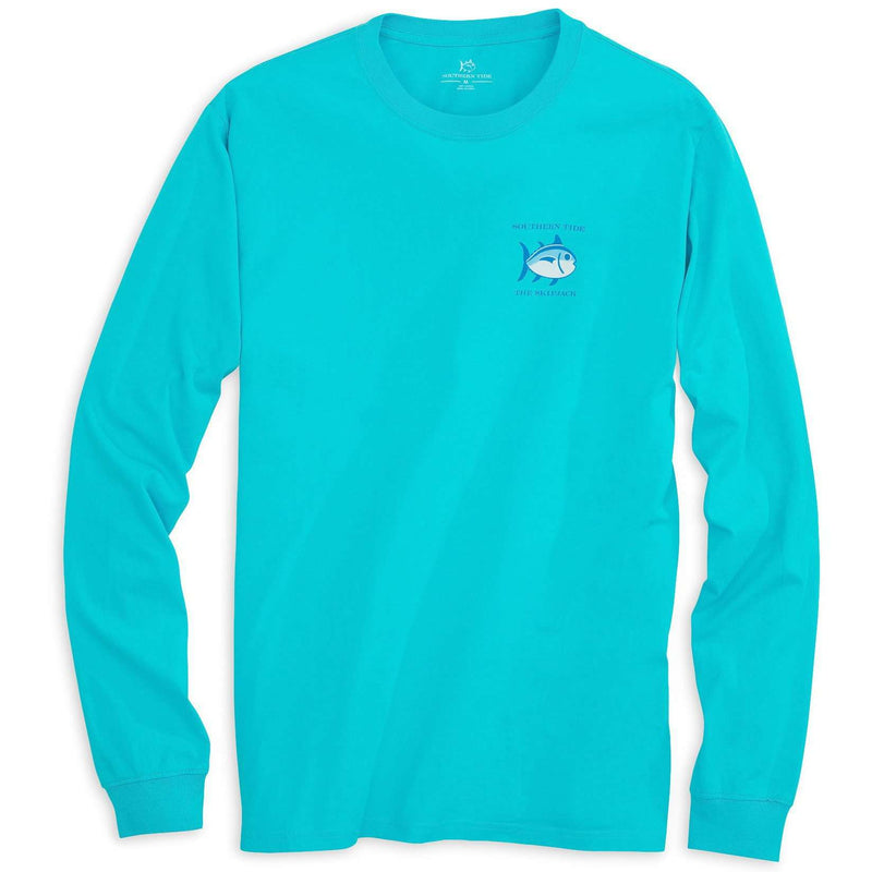 Men's Tee Shirts - Long Sleeve Original Skipjack Tee Shirt In Turquoise By Southern Tide