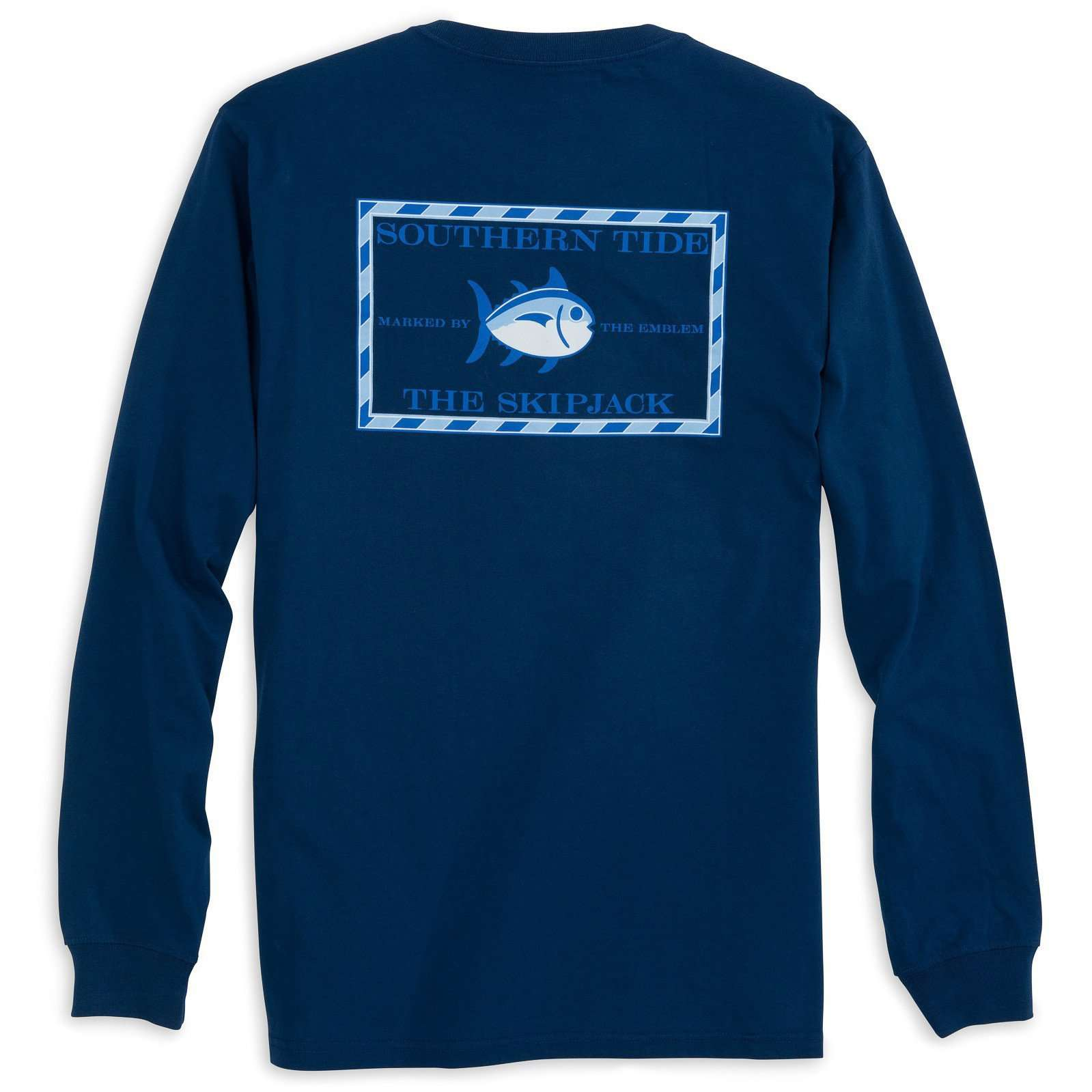 Men's Tee Shirts - Long Sleeve Original Skipjack Tee Shirt In Yacht Blue By Southern Tide