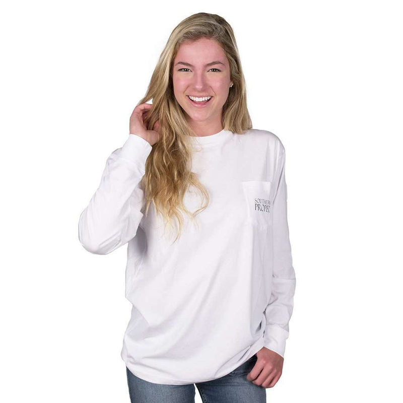 Men's Tee Shirts - Long Sleeve Original Tee In White By Southern Proper