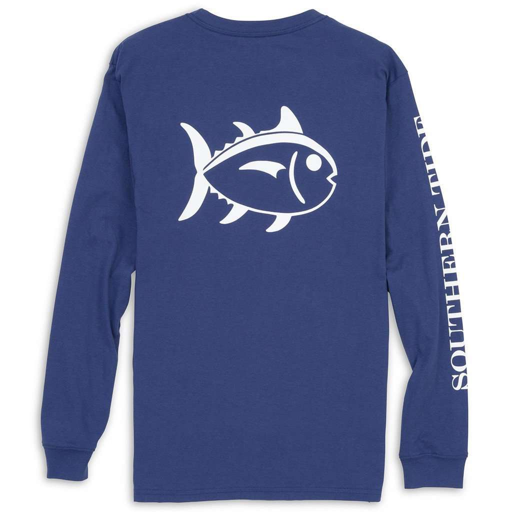Men's Tee Shirts - Long Sleeve Outlined Skipjack Tee In Blue Night By Southern Tide