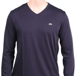 766264c927 Long Sleeve Pima Jersey V-neck T-Shirt in Navy by Lacoste