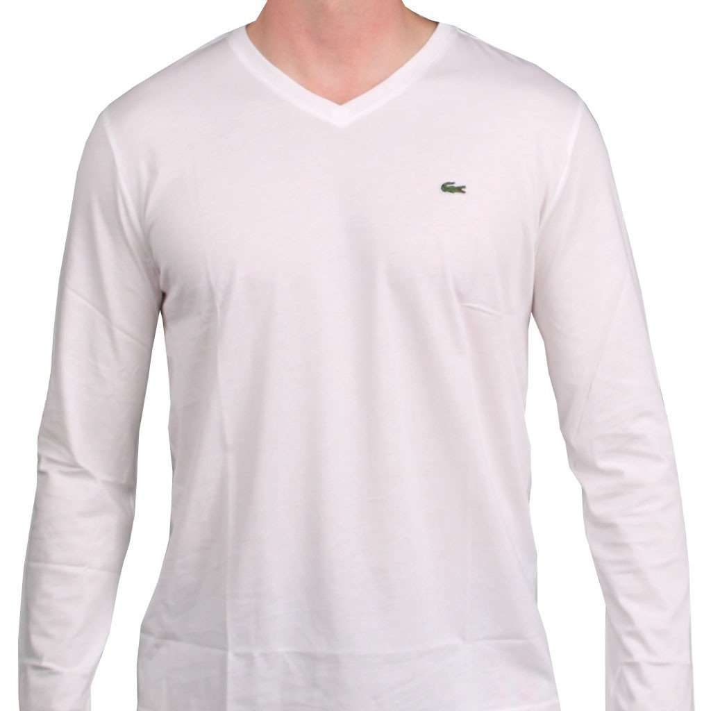 2d3eacf4f851eb Lacoste Long Sleeve Pima Jersey V-neck T-Shirt in White – Country Club Prep
