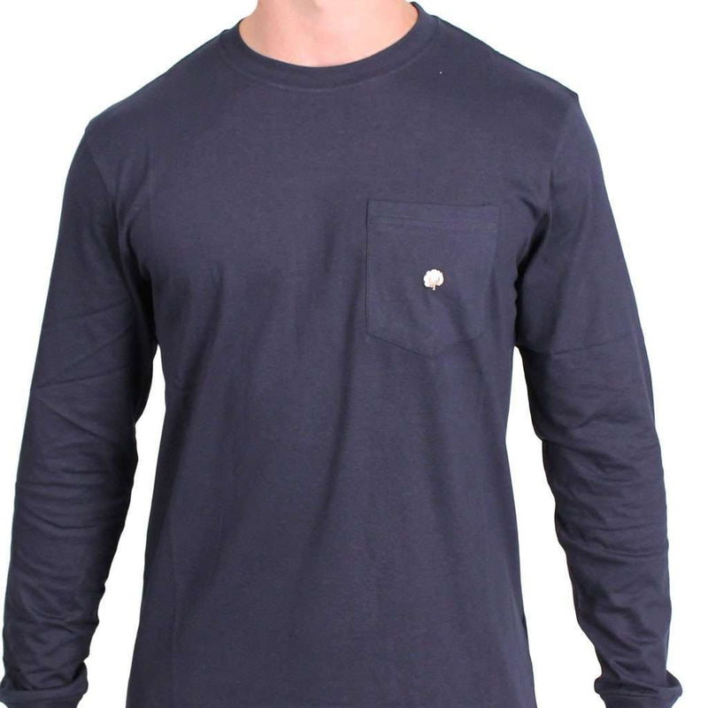 Men's Tee Shirts - Long Sleeve Pocket Tee In Navy By Cotton Brothers