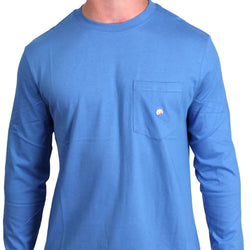 Men's Tee Shirts - Long Sleeve Pocket Tee In Periwinkle By Cotton Brothers