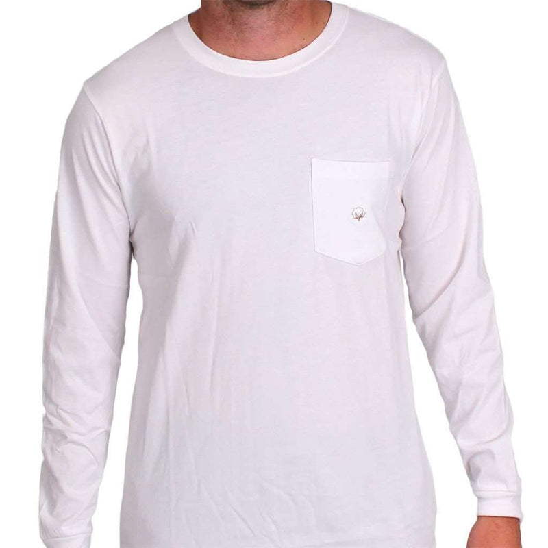 Men's Tee Shirts - Long Sleeve Pocket Tee In White By Cotton Brothers