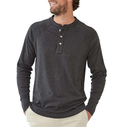 Men's Tee Shirts - Long Sleeve Puremeso Henley Tee In Charcoal By The Normal Brand - FINAL SALE