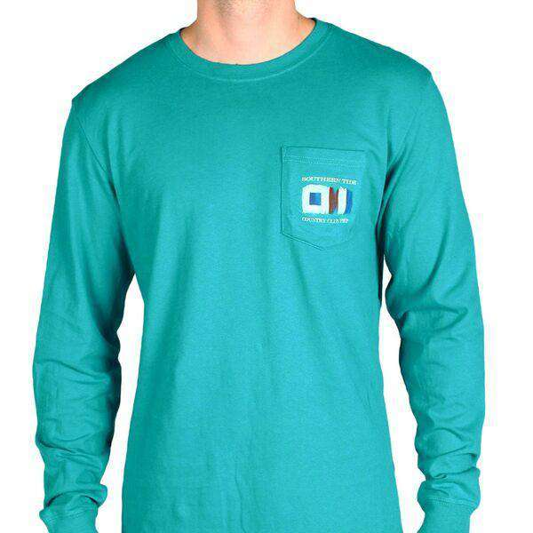 Long Sleeve Skipjack Signal Flag Country Club Prep Pocket Tee in Atlas Green by Southern Tide