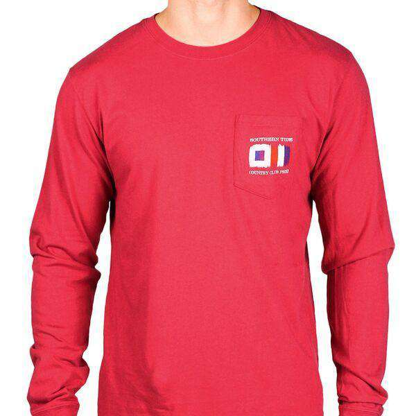 Long Sleeve Skipjack Signal Flag Country Club Prep Pocket Tee in Sangria by Southern Tide