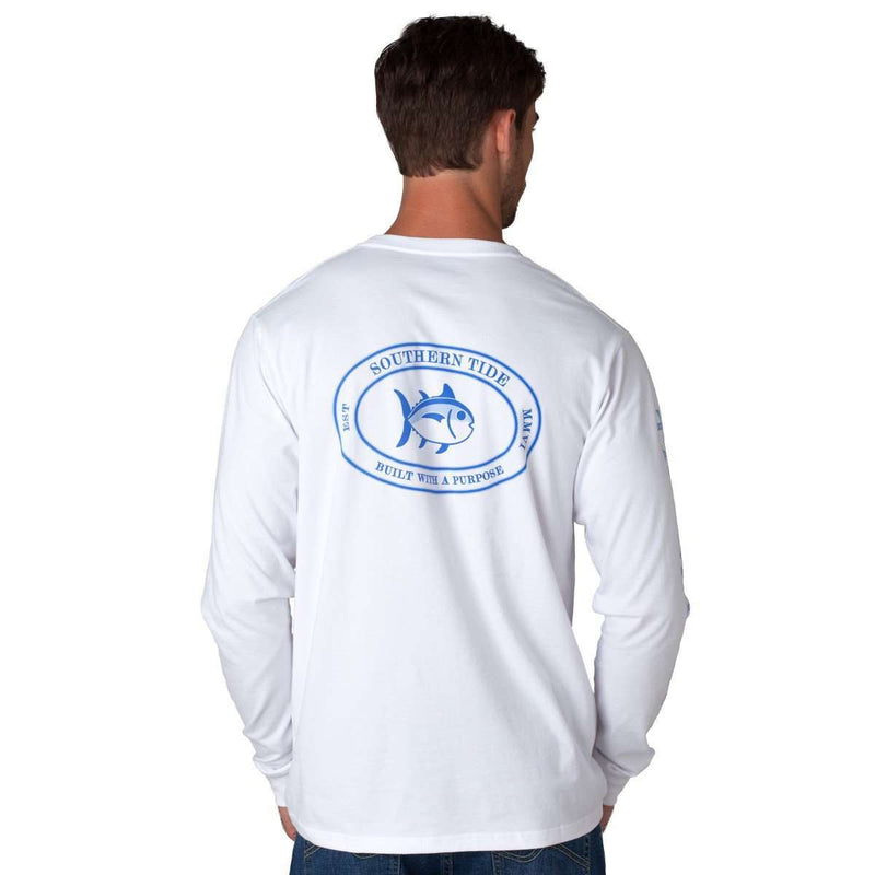Men's Tee Shirts - Long Sleeve Skipjack Sleeve Print Tee In White By Southern Tide