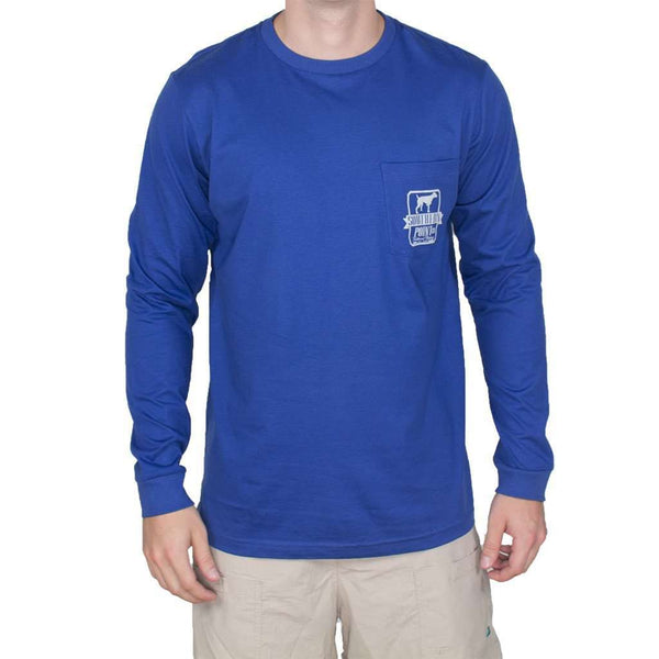 Long Sleeve Tradition Tee Shirt in Blue and Grey by Southern Point Co. - FINAL SALE