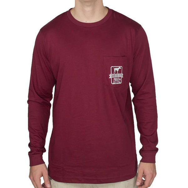 Long Sleeve Tradition Tee Shirt in Maroon and Grey by Southern Point Co