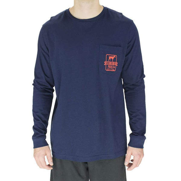 Long Sleeve Tradition Tee Shirt in Navy and Red by Southern Point Co. - FINAL SALE