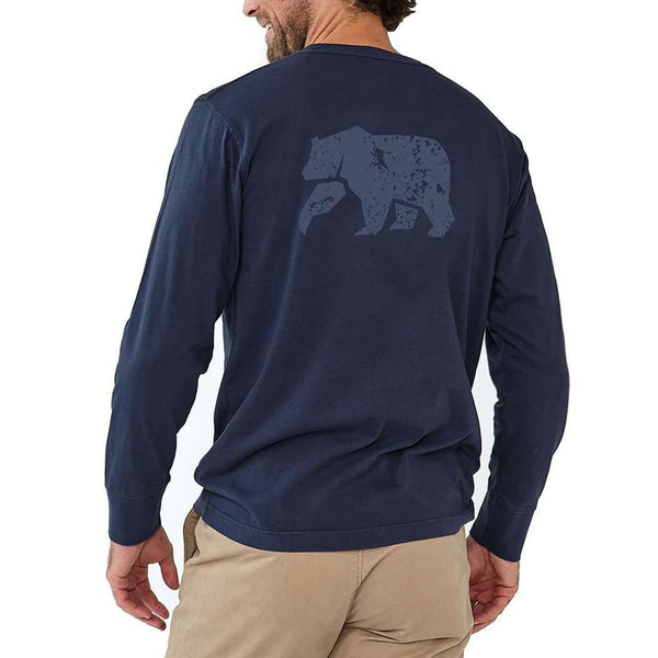 Men's Tee Shirts - Long Sleeve Vintage Bear T In Navy By The Normal Brand - FINAL SALE