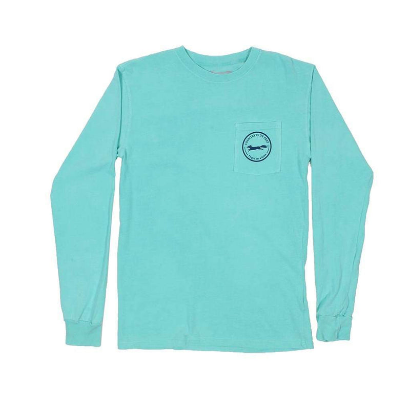 Long Sleeve Whiskey Flag Tee in Chalky Mint by Country Club Prep