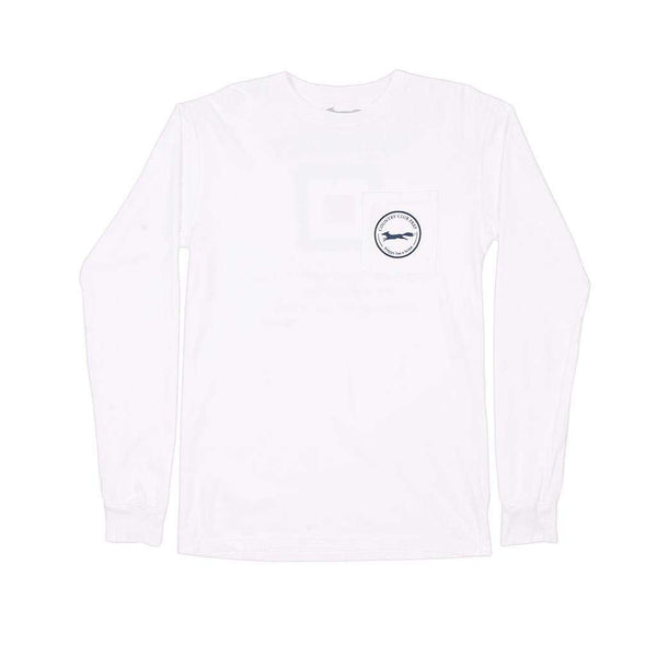 Long Sleeve Whiskey Flag Tee in White by Country Club Prep