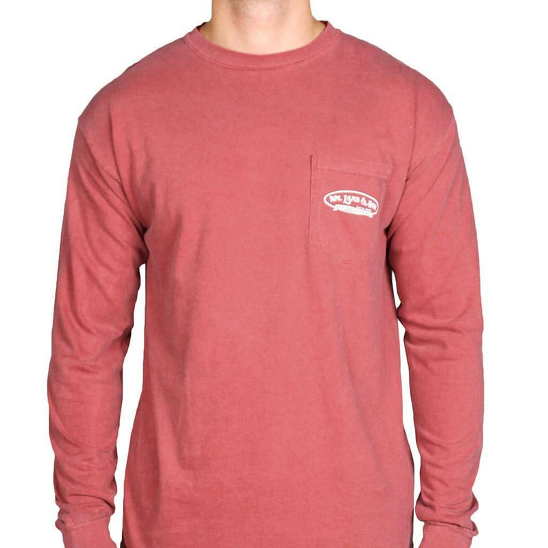 Men's Tee Shirts - Long Sleeve Wood Duck Pocket Tee In Crimson By WM Lamb & Son