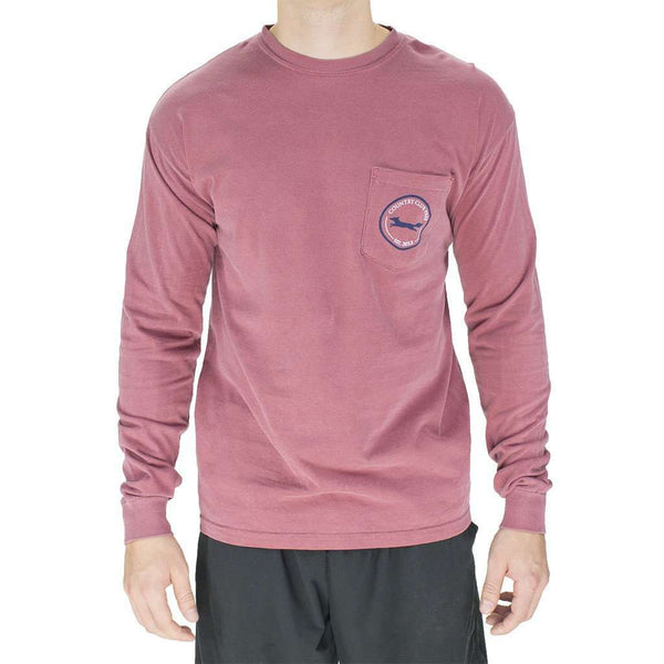 Men's Tee Shirts - Longshanks Long Sleeve Tee Shirt In Brick By Country Club Prep
