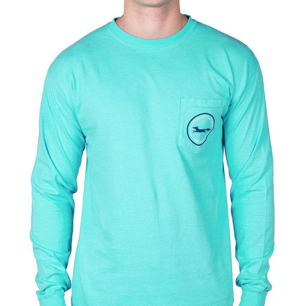 Longshanks Long Sleeve Tee Shirt in Lagoon Blue by Country Club Prep