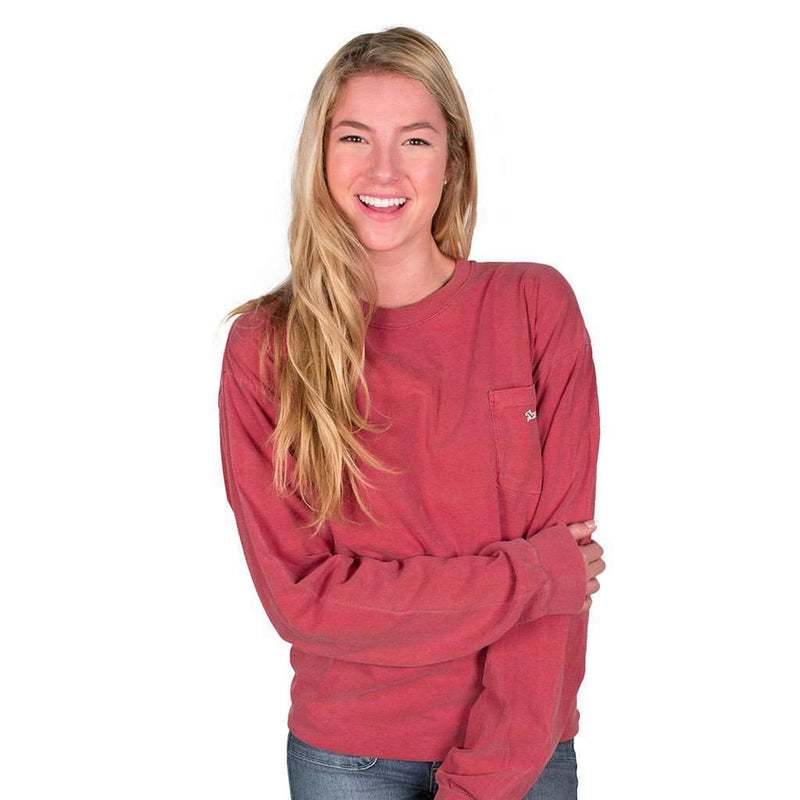 Longshanks Sewn Patch Long Sleeve Pocket Tee Shirt in Crimson by Country Club Prep