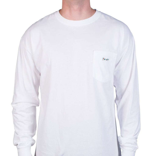 Longshanks Sewn Patch Long Sleeve Pocket Tee Shirt in White by Country Club Prep