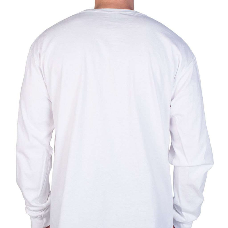 Men's Tee Shirts - Longshanks Sewn Patch Long Sleeve Pocket Tee Shirt In White By Country Club Prep